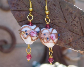 Lampwork Beaded Earrings - Heart Shaped Lamp Work Beads and Pink Crystal Earrings
