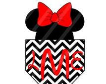Disney Inspired Minnie Pocket Digital Download Monogram for iron-ons, heat transfer, T-Shirt, Onesies, Bibs, Totes, Bags,Scrapbooking, Cards
