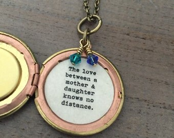 Mother Locket, The Love between a mother and daughter knows no distance, globe locket, birthstone jewelry