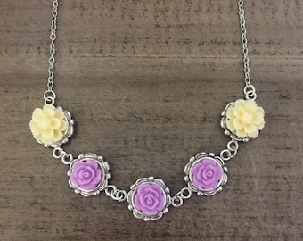 Lavender and Ivory Necklace, Flower Necklace, Bridesmaid Jewelry, Roses necklace
