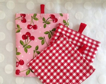 Reusable Snack Bags Set of 3 - Cloth Sandwich Bags - Eco Friendly Snack Bags - Accessory Bags - Cherries fabric