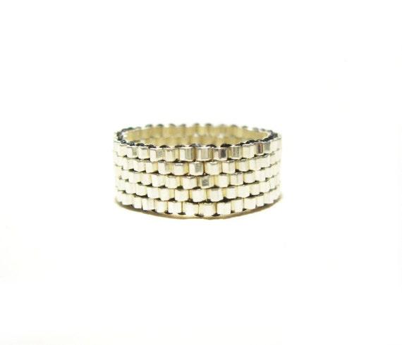 Silver Beaded Ring, Beadwoven Ring, Silver Bead Ring, Alternative Wedding Ring, UK Jewellery