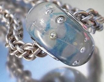 Cloudy skies - Glass Bracelet Charm Bead - fits big hole bead, large hole bead, european charm bracelets, UK SRA