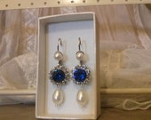 Blue Sapphire Silver Crystal Drop Earrings Drop Pearl Blue Sapphire Something Blue Bridal Earrings Lady D Earrings Swarovski Blue Gift OOAK