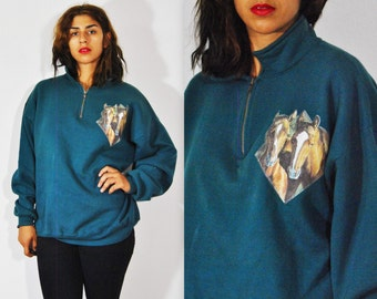 SALE 90s Horsin Around Pullover XL