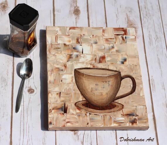 tasse caf peinture uvre d 39 art caf au lait petit. Black Bedroom Furniture Sets. Home Design Ideas
