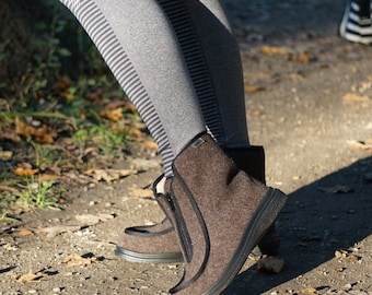 fall ,winter, shoes, high top slip on flats,wool lining,rubber soles,zipper.