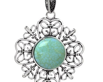 1 Silver Flower Pendant - Antique Silver - Turquoise Cabochons - LARGE - 65x47mm - Ships IMMEDIATELY from California - SC1287