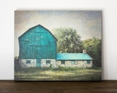Blue Barn Canvas Art, Rustic Wall Decor, Farm Photography Canvas, Green Country Picture, Farmhouse Artwork, Livingroom Art Large Canvas Wrap