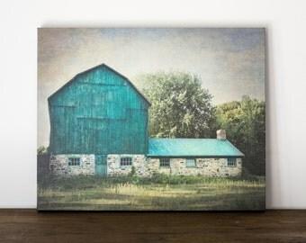 Blue Barn Canvas Art, Rustic Wall Decor, Farm Photography Canvas, Green Country Picture, Farmhouse Artwork, Livingroom Art Large Canvas Wrap