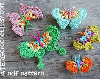 Crochet pattern 5 BUTTERFLIES by ATERGcrochet