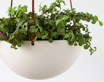 Hanging Ceramic Porcelain Planter Medium Size, Geometric Faceted or Smooth finish, choose Hemp or Leather Cording