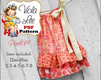 Pillowcase Dress Pattern. Girls Dresses. Toddler Dress Sewing Pattern. Girl's Dress Pattern. pdf Sewing Pattern,  Sewing Pattern. Penelope