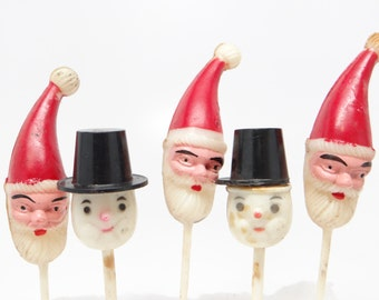 Vintage Christmas Party Picks for Cupcakes, Santa and Snowman