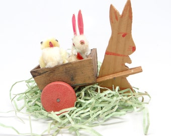 1940's German Rabbit Pull Toy for Easter, Wooden Wagon Cart Candy Container