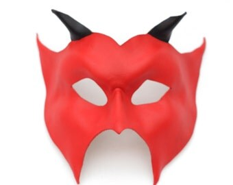 Handmade Red or Black Genuine Leather Horned Devil Masquerade Mask