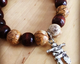 Yogi inspired wood mala meditation bead bracelet with picture jasper and inukshuk charm