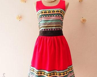 Summer Dress Chic Tribal Dress Lookbook Dress Red Hipster Party Dress Modern Vintage Sundress Hippie Dress Boho Dress -SIZE XS_XL,Custom