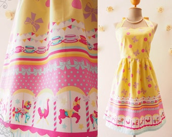 My Carousel Dress Easter Dress Yellow Pink Carnival Dress Cute Summer Dress Circus Bridesmaid Dress Carnival Wedding Dress -XS-XL,Custom