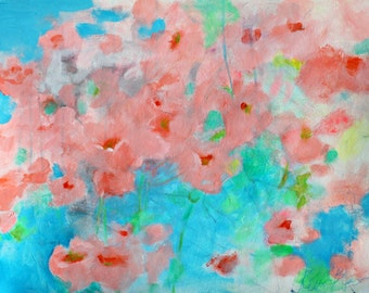 "Soft Abstract Floral, Flowers on Paper, Acrylic Painting Orange Blue ""California Poppies"" 24x18"""