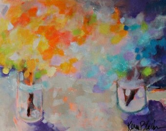 """Vibrant Abstract Floral on Paper, Original Painting, Still Life Flowers in Vase, """"First Summer Bouquets"""""""