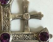 On Sale - Antique Amethyst Jerusalem Crusaders Cross Pendant Silver Gothic  J90