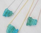 Raw Crystal Quartz Aqua Seafoam Necklace
