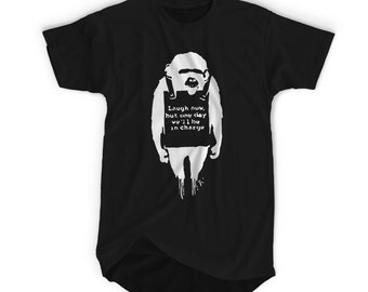"BANKSY( ""Banksy Monkey"")- Banksy Street Graffiti Artist T-shirt. Tshirts are Screenprinted with Enviromental Friendly Inks"