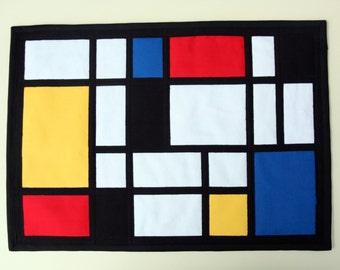 Mondrian Style Quilted Wall Hanging / Mini Art Quilt