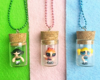READY TO SHIP, Bottled PowerPuff Girls Necklace/Phone Charm/Keychain