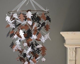 Nature inspired paper leaves mobile in white, black and brown --- Natural themed nursery, autumn decor or on a boy's room