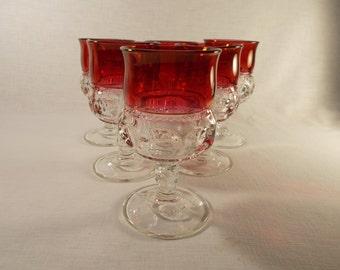 Tiffin Franciscan Kings Crown Ruby 6 Water Glasses