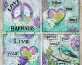 Inspirational Wall Decor for Girls - Dream Prints - Love Prints - Peace Prints - Happiness Prints - Floral Decor - Tween Girls Decorations