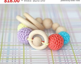 Sale! Teething rings toy rattle with crochet wooden beads and 3 wooden rings. Yellow, lavender, aqua blue, coral.