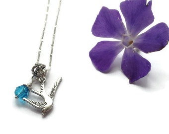 Swallow bird necklace - charm necklace - for her