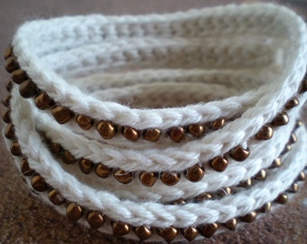 Crochet Multi Wrap Bracelet with Beads