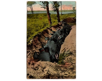 Belgian Soldiers in the Trenches near Malines, WWI Post Card, Vintage World War One Postcard, WCA Series 145, Postcard 11, WW1 Memorabilia