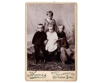 Ottumwa Iowa Antique Cabinet Card, Photograph of Light Haired Children, Thomas Photographer, Photography Props, 1890s Cabinet Photo