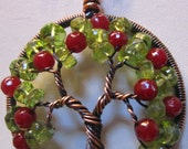 Apple Tree of Life in Antique Copper and Peridot, Wire Wrapped Apple Tree of Life with Peridot and Red Jade