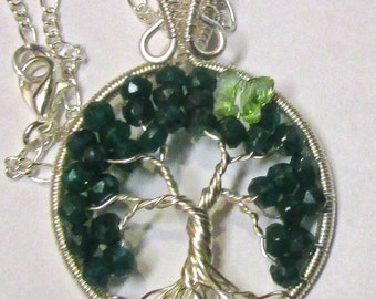 Little Emerald Tree of Life, May Birthstone Tree of Life, Peridot Swarovski Crystal Butterfly and Emerald Tree of Life