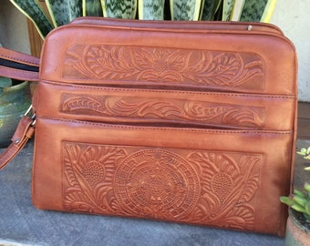 Vintage leather embossed bag purse Aztec calendar Mexico