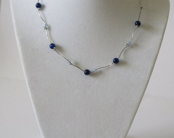Vintage Silver Tone Blue Beads Necklace