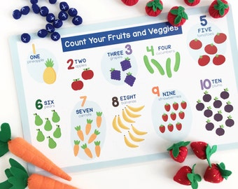 Activity Placemat for Kids - Counting Placemat - Food Pyramid Placemat - Educational Placemat - laminated, double-sided