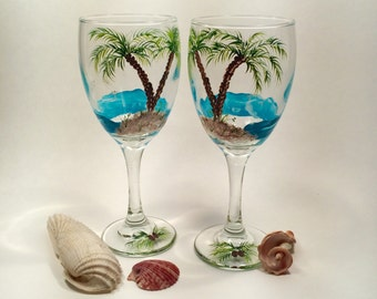 Palm tree beach glasses hand painted on wine glasses set of two