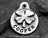 Dog Tags for Dogs Pet Tag Dog ID Tag Handmade Personalized Shamrock