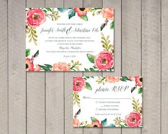 Watercolor Wedding Invitation, RSVP, Information Card (Printable) by Vintage Sweet