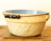 RESERVED for JANE POLLAN - Antique Stoneware Crock Bowl German Salt Glazed Bowl with Metal Bale and Wood Handle Blue Interior