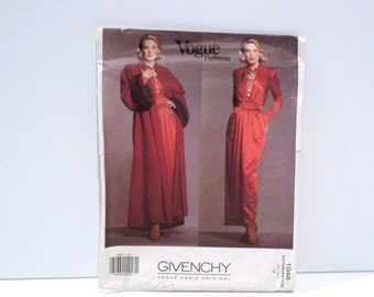 Givenchy Evening Coat and Dress Vintage Vogue 1046 1990s Never used Loose Dropped Shoulder Opera Coat Maxi Gown Paris Original Size 14 16 18