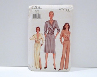 Wrap Top with Skirt Pants Vogue 7313 Faux Jumpsuit Look Never Used Sewing Pattern FF uncut Size 8 10 12 2000s does 1970s Studio 54 Sexy