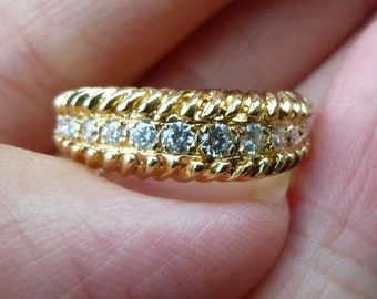 custom made  14 KT yellow gold and diamond ring  tons of sparkle  50 points total weight